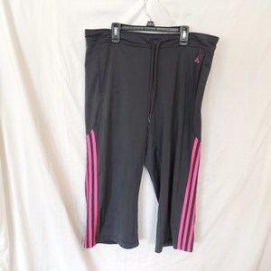 Addidas Women Gray/Pink workout capri pants Size L